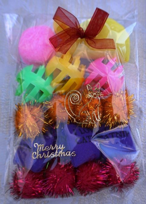 CHRISTMAS CAT TOY PACK - HAND DECORATED AND FILLED WITH 16 ASSORTED CAT TOYS #3